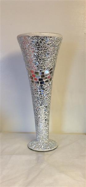 Tall Mosaic Crackle Vase